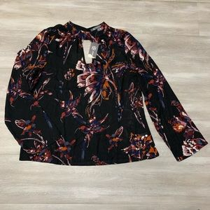 Daisy Fuentes Black Floral Long Sleeve Blouse Top